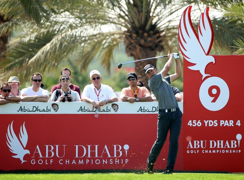 ABU DHABI, UNITED ARAB EMIRATES - JANUARY 22:  Henrik Stenson of Sweden tees off on the par four 9th hole during the second round of The Abu Dhabi Golf Championship at Abu Dhabi Golf Club on January 22, 2010 in Abu Dhabi, United Arab Emirates.  (Photo by Andrew Redington/Getty Images)