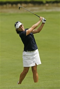 SYLVANIA, OH - JULY 12: Rachel Hetherington of Australia hits her third shot on the 18th hole during the third round of the Jamie Farr Owens Corning Classic at Highland Meadows Golf Club on July 12, 2008 in Sylvania, Ohio. (Photo by Hunter Martin/Getty Images)