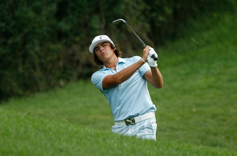 DUBLIN, OH - JUNE 03:  Rickie Fowler watches a shot on the 17th hole during the first round of the Memorial Tournament presented by Morgan Stanley at Muirfield Village Golf Club on June 3, 2010 in Dublin, Ohio.  (Photo by Scott Halleran/Getty Images)