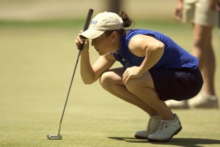 Duke University junior Elizabeth Janangelo reads the green prior to her putt on the 13th green during final round play of the 2005 ACC Women's Golf Championship at Carmel Country Club in Charlotte, NC, April 17, 2005.Photo by Brian A.  Westerholt/WireImage.com