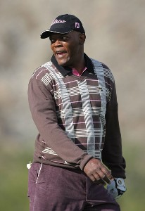 Actor Samuel L. Jackson jokes on the 12th hole during the first round of the 49th Bob Hope Chrysler Classic at the Silverrock Resort on January 16, 2008 in La Quinta, California. PGA TOUR - 2008 Bob Hope Chrysler Classic - Round OnePhoto by Harry How/WireImage.com