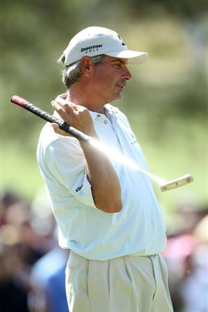 AUGUSTA, GA - APRIL 11:  Fred Couples celebrates making par on the seventh hole during the final round of the 2010 Masters Tournament at Augusta National Golf Club on April 11, 2010 in Augusta, Georgia.  (Photo by Jamie Squire/Getty Images)
