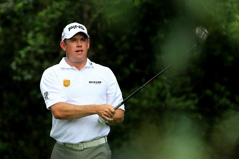 AUGUSTA, GA - APRIL 09:  Lee Westwood of England watches his tee shot on the second hole during the third round of the 2011 Masters Tournament at Augusta National Golf Club on April 9, 2011 in Augusta, Georgia.  (Photo by David Cannon/Getty Images)