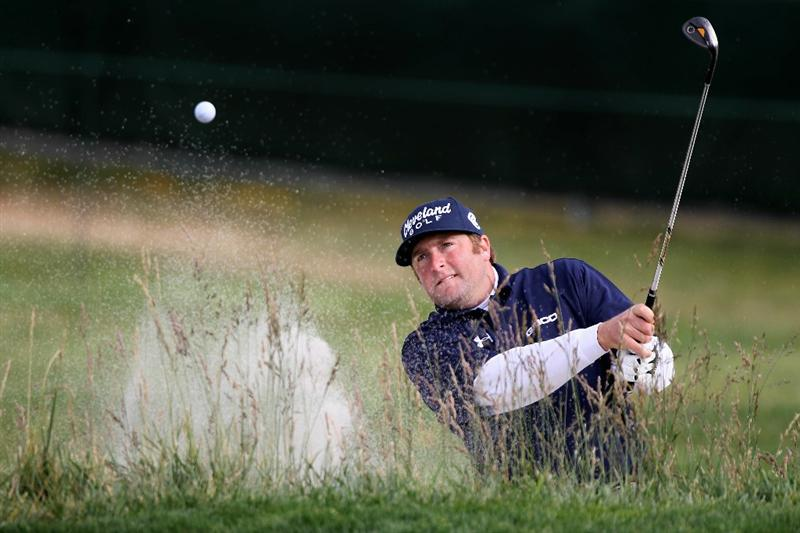 PEBBLE BEACH, CA - JUNE 17:  Steve Marino plays from a bunker on the second hole during the first round of the 110th U.S. Open at Pebble Beach Golf Links on June 17, 2010 in Pebble Beach, California.  (Photo by Donald Miralle/Getty Images)