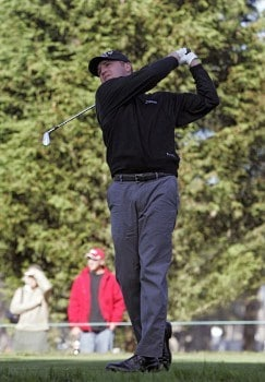 Jason Bohn hitting off the first fairway during the third round of The World Golf Championships 2005 American Express Championship at Harding Park Golf Club in San Francisco, California on October 8, 2005.Photo by Stan Badz/PGA TOUR/WireImage.com