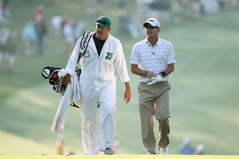 AUGUSTA, GA - APRIL 08:  Scott Verplank (R) talks walks his caddie Scott Tway on the first hole during the first round of the 2010 Masters Tournament at Augusta National Golf Club on April 8, 2010 in Augusta, Georgia.  (Photo by Andrew Redington/Getty Images)