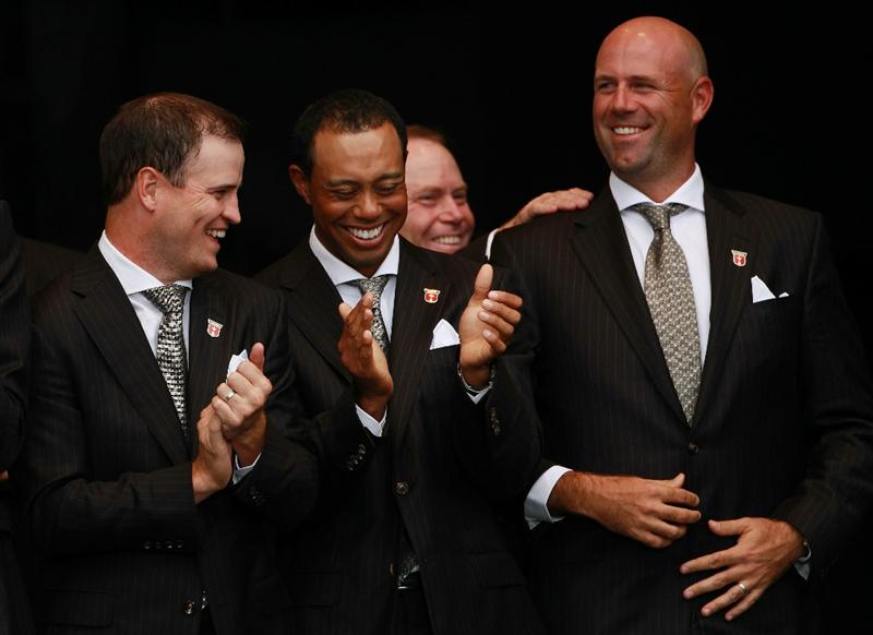 NEWPORT, WALES - SEPTEMBER 30:  Stewart Cink (R) of the USA reacts after Team Captain Corey Pavin forgets to announce him during the Opening Ceremony prior to the 2010 Ryder Cup at the Celtic Manor Resort on September 30, 2010 in Newport, Wales.  (Photo by Andrew Redington/Getty Images)