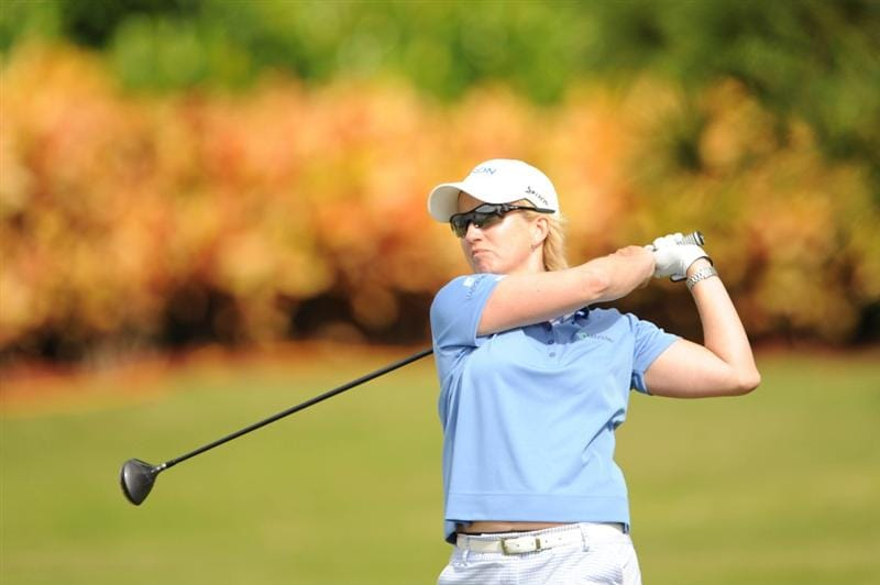 WEST PALM BEACH, FL - NOVEMBER 23:  Karrie Webb of Australia hits her tee shot on number seven during the final round of the ADT Championship at the Trump International Golf Club on November 23, 2008 in West Palm Beach, Florida.  (Photo by Montana Pritchard/Getty Images)