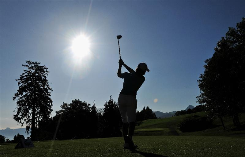 EVIAN-LES-BAINS, FRANCE - JULY 24:  Lorena Ochoa of Mexico plays her tee shot on the fifth hole during the second round of the Evian Masters at the Evian Masters Golf Club on July 24, 2009 in Evian-les-Bains, France.  (Photo by Stuart Franklin/Getty Images)