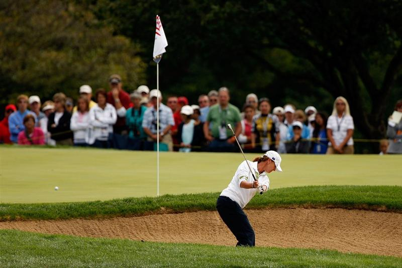 SUGAR GROVE, IL - AUGUST 22:  Helen Alfredsson of the European Team chips out of the sand on the 6th hole during the Saturday morning Fourball matches at the 2009 Solheim Cup at Rich Harvest Farms on August 22, 2009 in Sugar Grove, Illinois.   Alfredsson and Tania Elosegui were defeated by Christina Kim and Michelle Wie of the U.S. Team.  (Photo by Chris Graythen/Getty Images)