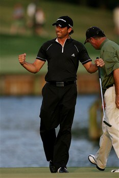 PONTE VEDRA BEACH, FL - MAY 11:  Sergio Garcia of Spain celebrates his sudden-death victory over Paul Goydos on the 17th green during THE PLAYERS Championship on THE PLAYERS Stadium Course at TPC Sawgrass on May 11, 2008 in Ponte Vedra Beach, Florida.  (Photo by Andy Lyons/Getty Images)