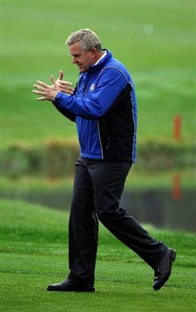 NEWPORT, WALES - SEPTEMBER 28:  Europe Team Captain Colin Montgomerie gestures during a practice round prior to the 2010 Ryder Cup at the Celtic Manor Resort on September 28, 2010 in Newport, Wales.  (Photo by Sam Greenwood/Getty Images)