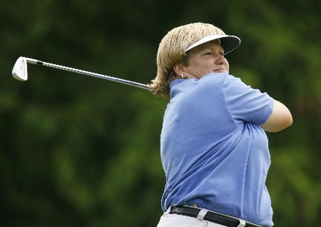 CLIFTON, NJ - MAY 20:   Kate Golden  hits her tee shot on the 15th hole during the final round of the LPGA Sybase Classic at Upper Montclair Country Club on May 20, 2007 in Clifton, New Jersey. (Photo by Hunter Martin/Getty Images)