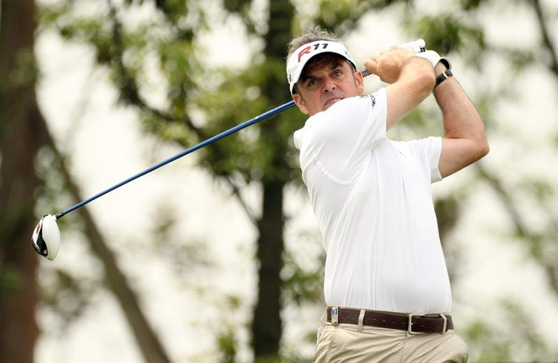 CHENGDU, CHINA - APRIL 22:  Paul McGinley of Ireland in action during day two of the Volvo China Open at Luxehills Country Club on April 22, 2011 in Chengdu, China.  (Photo by Ian Walton/Getty Images)