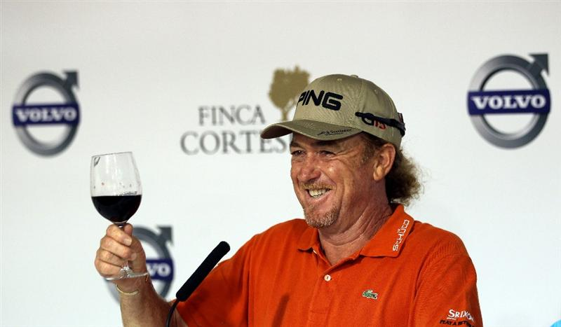 CASARES, SPAIN - MAY 19:  Miguel Angel Jimenez of Spain celebrates his victory in he group stages of the Volvo World Match Play Championship at Finca Cortesin on May 19, 2011 in Casares, Spain.  (Photo by Andrew Redington/Getty Images)