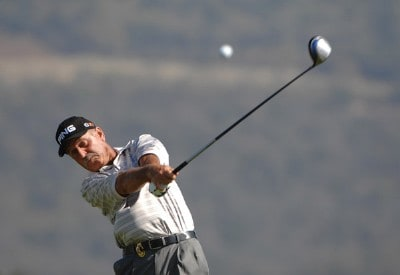 Mark James tees off on the 3rd hole during the final round of the Charles Schwab Championship Cup on October 28, 2007 at the Sonoma Golf Club in Sonoma California. Champions Tour - 2007 Charles Schwab Cup Championship - Final RoundPhoto by Marc Feldman/WireImage.com