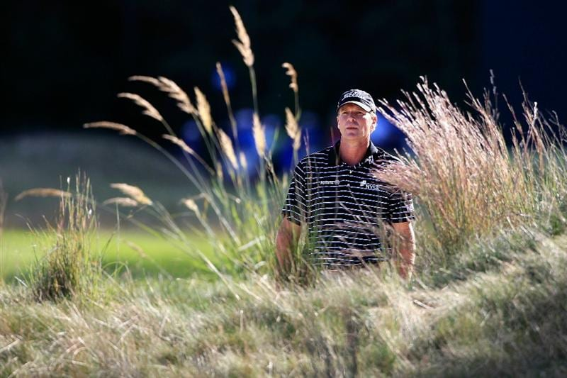 NORTON, MA - SEPTEMBER 05:  Steve Stricker looks on from the 15th hole during the third round of the Deutsche Bank Championship at TPC Boston on September 5, 2010 in Norton, Massachusetts.  (Photo by Michael Cohen/Getty Images)