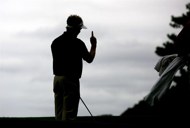 SYDNEY, AUSTRALIA - DECEMBER 11:  Stuart Appleby celebrates chipping in on the eight hole during the first round of the 2008 Australian Open at The Royal Sydney Golf Club on December 11, 2008 in Sydney, Australia.  (Photo by Matt King/Getty Images)