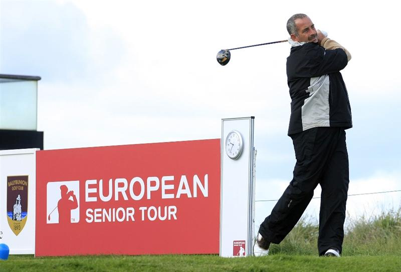BALLYBUNION, IRELAND - JUNE 06:  Sam Torrance of Scotland drives from the 1st tee during the second round of the Irish Seniors Open played at the Old Course, Ballybunion Golf Club on June 6, 2009 in Ballybunion, Ireland  (Photo by Phil Inglis/Getty Images)