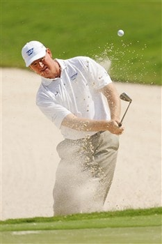 PONTE VEDRA BEACH, FL - MAY 07:  Ernie Els of South Africa hits a shot out of a bunker during practice for the THE PLAYERS Championship on THE PLAYERS Stadium Course at TPC Sawgrass on May 7, 2008 in Ponte Vedra Beach, Florida.  (Photo by Sam Greenwood/Getty Images)