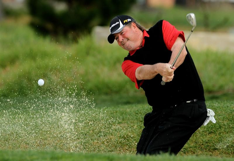 PEBBLE BEACH, CA - FEBRUARY 11: Steve Lowery hits out of the bunker on the second hole during the first round of the AT&T Pebble Beach National Pro-Am at Pebble Beach Golf Links on February 11, 2010 in Pebble Beach, California.  (Photo by Stephen Dunn/Getty Images)