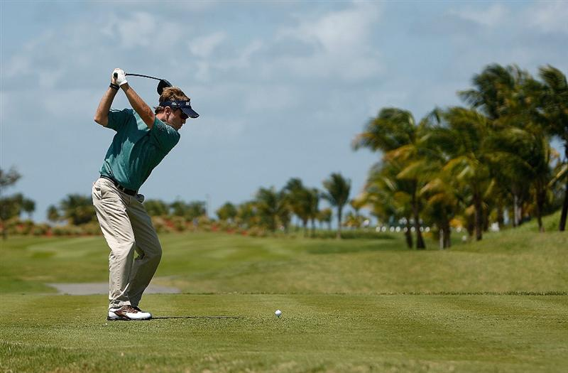 RIO GRANDE, PR - MARCH 14:  Brett Quigley hits his tee shot on the 9th hole during the third round of the 2009 Puerto Rico Open presented by Banco Popular on March 14, 2009 at the Trump International Golf Club in Rio Grande, Puerto Rico.  (Photo by Mike Ehrmann/Getty Images)