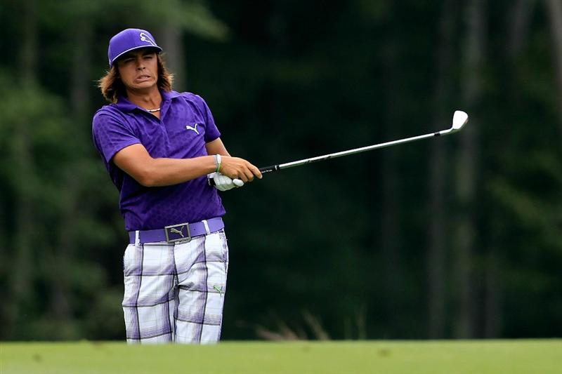 NORTON, MA - SEPTEMBER 03:  Rickie Fowler hits a shot on during the first round of the Deutsche Bank Championship at TPC Boston on September 3, 2010 in Norton, Massachusetts.  (Photo by Michael Cohen/Getty Images)