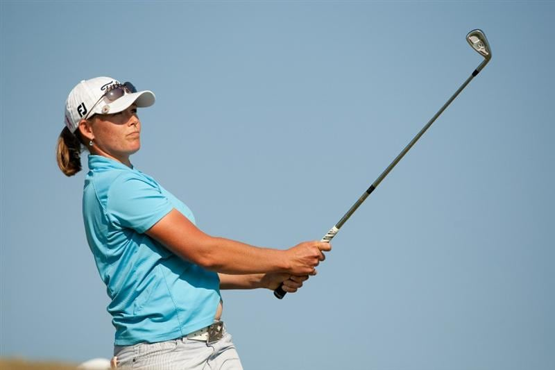 PRATTVILLE, AL - OCTOBER 10: Katherine Hull of Australia watches a tee shot during the final round of the Navistar LPGA Classic at the Senator Course at the Robert Trent Jones Golf Trail on October 10, 2010 in Prattville, Alabama. (Photo by Darren Carroll/Getty Images)