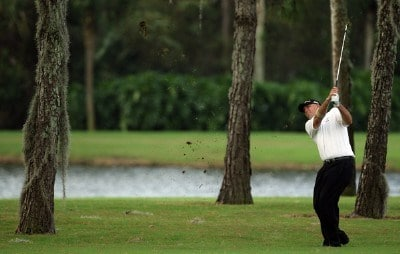 Tom Lehman hits his second shot on the 13th hole on the Palm Course during the first round of The Childrens Miracle Network Classic held at The Disney Shades of Green Resort on November 1, 2007 in Orlando, Florida, PGA TOUR - 2007 Children's Miracle Network Classic presented by Wal-Mart - First RoundPhoto by David Cannon/WireImage.com