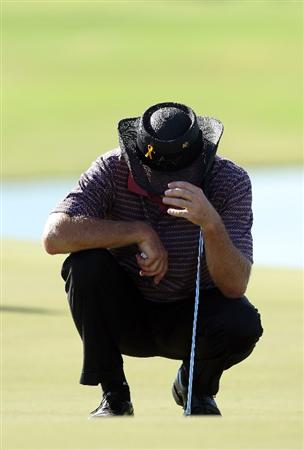 PERTH, AUSTRALIA - FEBRUARY 20:  Greg Norman of Australia reacts on the 17th green as he misses the cut during the second round of the 2009 Johnnie Walker Classic tournament at the Vines Resort and Country Club, on February 20, 2009, in Perth, Australia  (Photo by David Cannon/Getty Images)