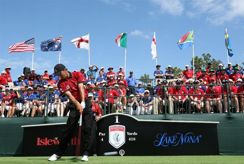 ORLANDO, FL - MARCH 17:  Charles Howell III of the U.S. and the Isleworth Team tees off at the first hole during the second day of the 2009 Tavistock Cup at the Lake Nona Golf and Country Club, on March 17, 2009 in Orlando, Florida  (Photo by David Cannon/Getty Images)