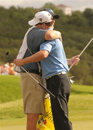 SAN ANTONIO TX - MAY 17: Zach Johnson is congratulated by his caddie after his victory at the Valero Texas Open held at La Cantera Golf Club on May 17, 2009 in San Antonio, Texas.  (Photo by Marc Feldman/Getty Images)