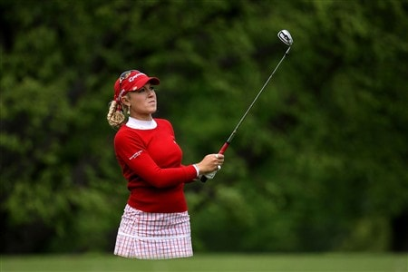 CLIFTON, NJ - MAY 17:  Natalie Gulbis watches her approach shot on the 13th hole during the second round of the Sybase Classic presented by ShopRite at the Upper Montclair Country Club May 17, 2008 in Clifton, New Jersey.  (Photo by Travis Lindquist/Getty Images)