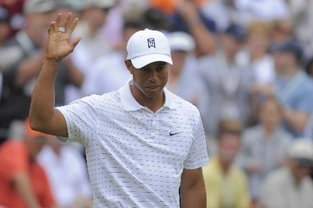 ORLANDO, FL - MARCH 14: Tiger Woods waves to the gallery after a birdie put on the second hole during the second round of the Arnold Palmer Invitational at Bay Hill Club and Lodge on March 14, 2008 in Orlando, Florida. (Photo by Scott A. Miller/Getty Images)