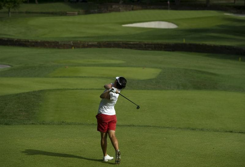 ROGERS, AR - SEPTEMBER 11:  Eunjung Yi of South Korea makes a tee shot on the sixth hole during the second round of the P&G NW Arkansas Championship at the Pinnacle Country Club on September 11, 2010 in Rogers, Arkansas.  (Photo by Robert Laberge/Getty Images)