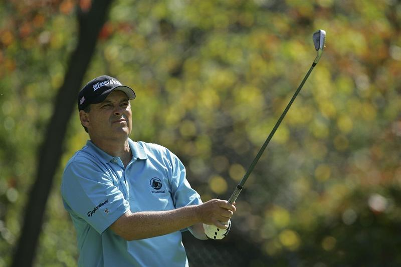 TIMONIUM, MD - OCTOBER 03:  Loren Roberts watches his tee shot on the 15th hole during the third round of the Constellation Energy Senior Players Championship at Baltimore Country Club/Five Farms (East Course) held on October 3, 2009 in Timonium, Maryland  (Photo by Michael Cohen/Getty Images)