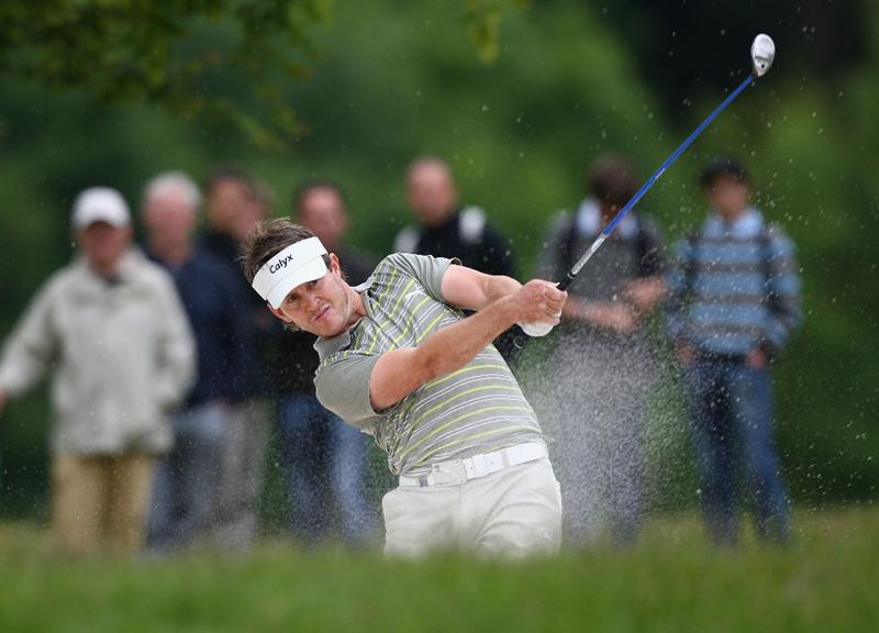 ST OMER, FRANCE - JUNE 20:  Stuart Manley of Wales hits out of a bunker during Round Three of the Open de St Omer at the AA St Omer Golf Club on June 20, 2009 in St Omer, France.  (Photo by Ryan Pierse/Getty Images)