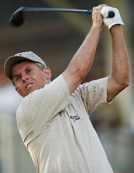 Wayne Levi hits from the 14th tee during the final round of the 2005 FedEx Kinko's Classic at the Hills Country Club in Austin, Texas May 1, 2005.Photo by Steve Grayson/WireImage.com