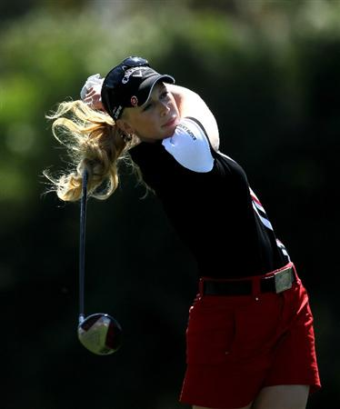 RANCHO MIRAGE, CA - APRIL 03:  Morgan Pressel hits her tee shot on the sixth hole during the final round of the Kraft Nabisco Championship at Mission Hills Country Club on April 3, 2011 in Rancho Mirage, California.  (Photo by Stephen Dunn/Getty Images)