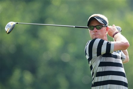 BLOOMFIELD HILLS, MI - AUGUST 05:  Simon Dyson of England plays a tee shot during a practice round prior to the 90th PGA Championship at Oakland Hills Country Club on August 5, 2008 in Bloomfield Township, Michigan.  (Photo by Stuart Franklin/Getty Images)