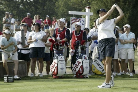 Wendy Ward of the United States watches her drive during the Friday afternoon four- ball  matches at the Solheim Cup at Crooked Stick Golf Club in Carmel, Indiana on September 9,2005.Photo by Michael Cohen/WireImage.com