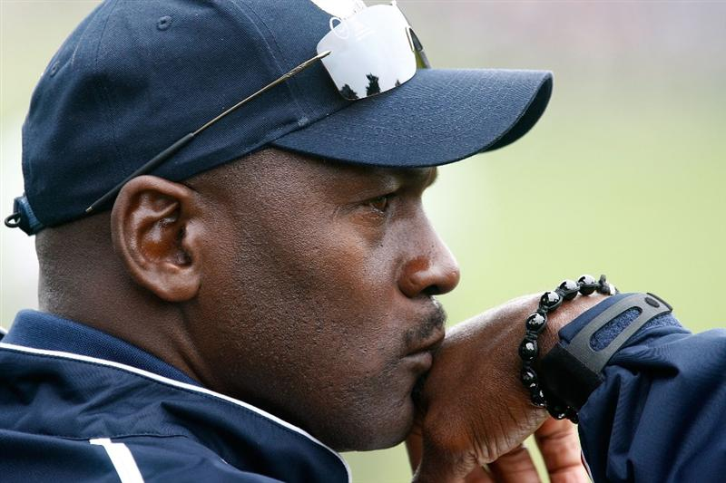 SAN FRANCISCO - OCTOBER 10:  USA Team assistant Michael Jordan watches the play during the Day Three Morning Foursome Matches of The Presidents Cup at Harding Park Golf Course on October 10, 2009 in San Francisco, California.  (Photo by Scott Halleran/Getty Images)