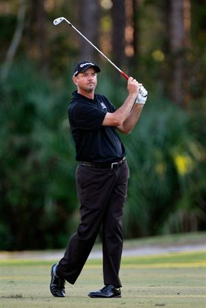 LAKE BUENA VISTA, FL - NOVEMBER 11:  Brenden Pappas plays a shot on the 17th hole during the first round of the Children's Miracle Network Classic at the Disney Palm and Magnolia courses on November 11, 2010 in Lake Buena Vista, Florida.  (Photo by Sam Greenwood/Getty Images)