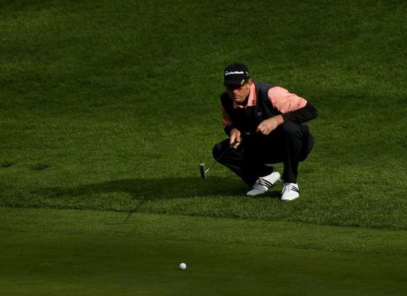 PEBBLE BEACH, CA - FEBRUARY 14:  Retief Gossen of South Africa lines up his putt on the 12th hole  during the third round of the the AT&T Pebble Beach National Pro-Am at Spyglass Hill Golf Course on February 14, 2009 in Pebble Beach, California.  (Photo by Stephen Dunn/Getty Images)