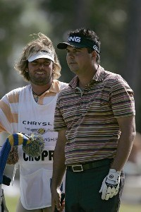 Daniel Chopra (R) and his caddie Steve DuPlantis during the third round of the Chrysler Championship at the Westin Innisbrook Resort on the Copperhead Course in Palm Harbor, Florida on October 28, 2006. PGA TOUR - 2006 Chrysler Championship - Third RoundPhoto by Michael Cohen/WireImage.com