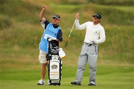SOUTHPORT, UNITED KINGDOM - JULY 16:  Sergio Garcia of Spain pulls a club on the 3rd fairway as his caddie Billy Foster looks on during the third practice round of the 137th Open Championship on July 16, 2008 at Royal Birkdale Golf Club, Southport, England.  (Photo by Andrew Redington/Getty Images)