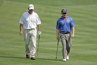 Tom Lehman and Fred Funk during practice for the 2006 WGC-Bridgestone Invitational held on the South Course at Firestone Country Club in Akron, Ohio, on August 23, 2006.Photo by Chris Condon/PGA TOUR/WireImage.com