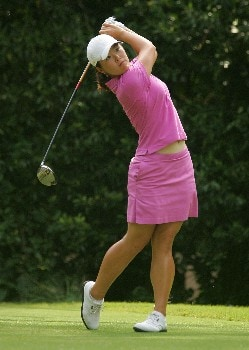 SOUTHERN PINES, NC - JUNE 30:  Angela Park hits her tee shot on the 18th hole during the completion of round two of the U.S. Women's Open Championship at Pine Needles Lodge & Golf Club on June 30, 2007 in Southern Pines, North Carolina.  (Photo by Scott Halleran/Getty Images)