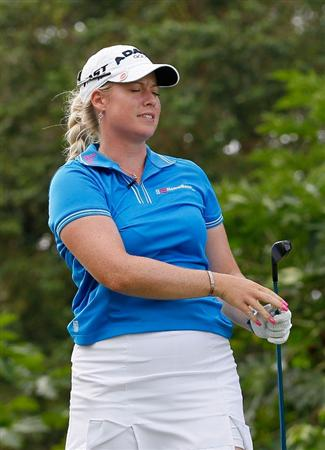 MONTEGO BAY, JAMAICA - APRIL 15:  Brittany Lincicome of the United States reacts after her tee shot on the fourth hole during the third round of The Mojo 6 Jamaica LPGA Invitational at Cinnamon Hill Golf Course on April 15, 2010 in Montego Bay, Jamaica.  (Photo by Kevin C. Cox/Getty Images)
