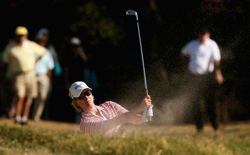 MELBOURNE, AUSTRALIA - FEBRUARY 14:  Karrie Webb of Australia plays her second shot on the 16th hole during day three of the 2009 Women`s Australian Open held at the Metropolitan Golf Club February 14, 2009 in Melbourne, Australia.  (Photo by Robert Prezioso/Getty Images)
